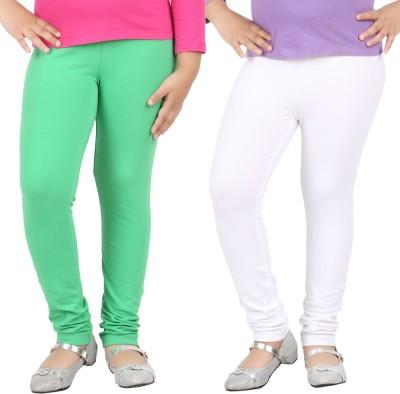 Avarnas Girl's White, Green Leggings