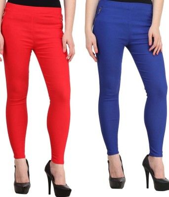 Magrace Women's Red, Blue Jeggings