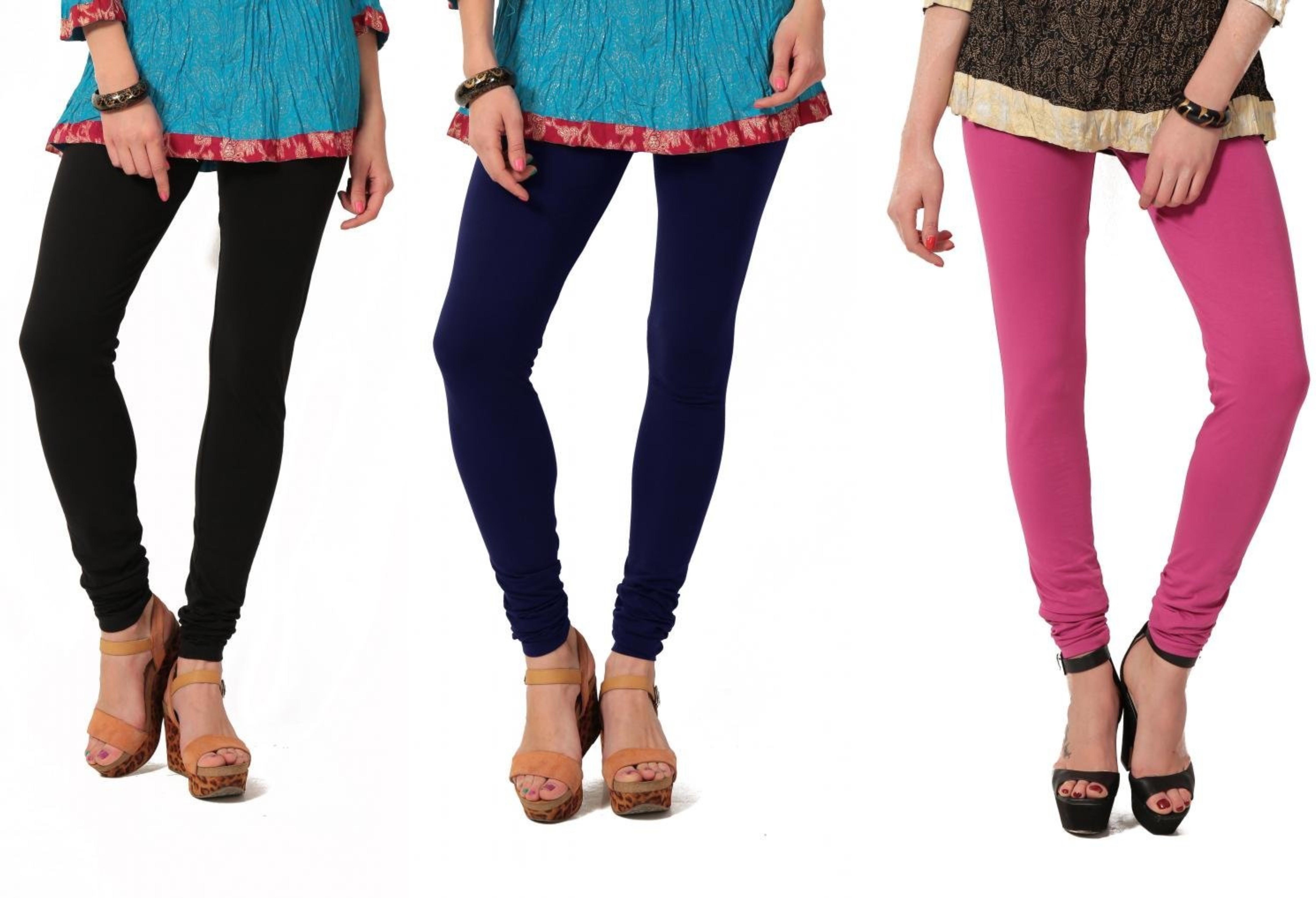 Angel Soft Womens Black, Blue, Pink Leggings(Pack of 3)