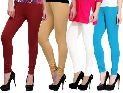 NGT Women's Maroon, Beige, Light Blue, White Leggings