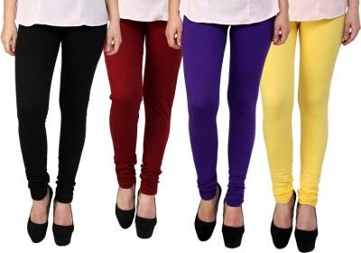 Dharamanjali Women's Black, Maroon, Purple, Yellow Leggings