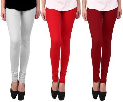 Escocer Women's White, Maroon, Red Leggings
