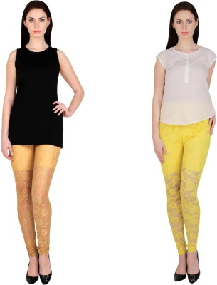 Simrit Women's Beige, Yellow Leggings