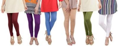 Prekrasna Women,s Maroon, Purple, Blue, Gold, Light Green, White Leggings