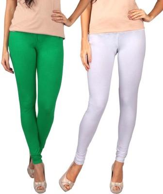 divine creations Women,s White, Green Leggings