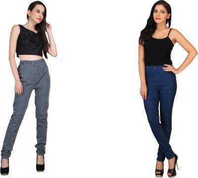 bella nova Women's Grey, Dark Blue Jeggings