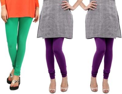Sampoorna Collection Women's Green, Purple, Purple Leggings