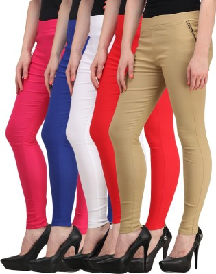 Jainish Women's White, Red, Beige, Pink, Blue Jeggings