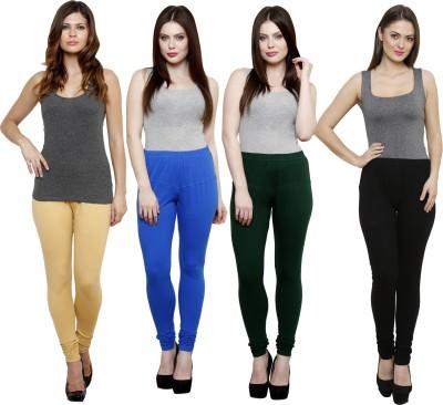 Pistaa Women's Beige, Blue, Dark Green, Black Leggings