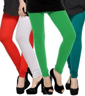 Elevate Women Women's White, Red, Light Green, Dark Green Leggings