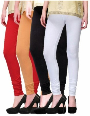 Aikaagya Women's White, Black, Red, Gold Leggings