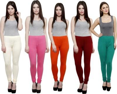 Pistaa Women's White, Pink, Orange, Maroon, Green Leggings