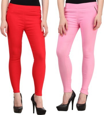 Roma Creation Women's Red, Pink Jeggings