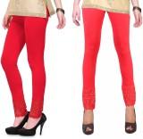 RobinRomeo Women's Orange, Red Leggings ...