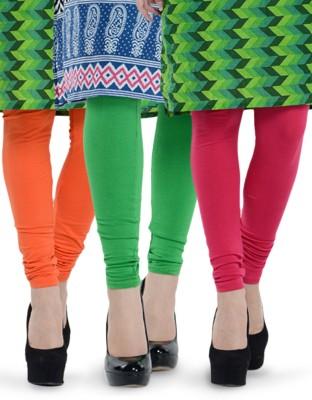 Tjaggies Women's Light Green, Orange, Pink Leggings