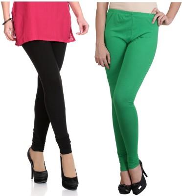 Ahhaaaa Women's Black, Green Leggings