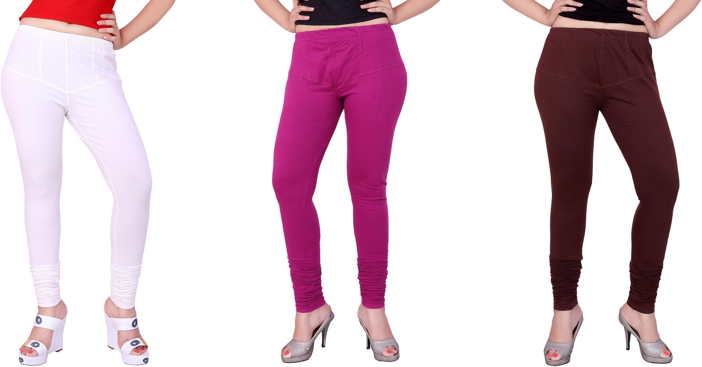 Fck3 Womens White, Brown, Purple Leggings(Pack of 3)