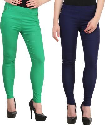 Jainish Women's Green, Dark Blue Jeggings