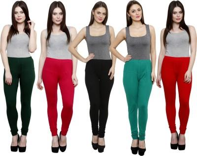 Pistaa Women's Dark Green, Pink, Black, Green, Red Leggings