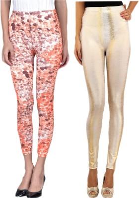 indian street fashion Women's Orange, Gold Leggings