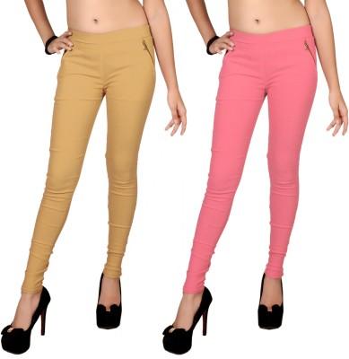 Zea-Al Women's Beige, Pink Jeggings