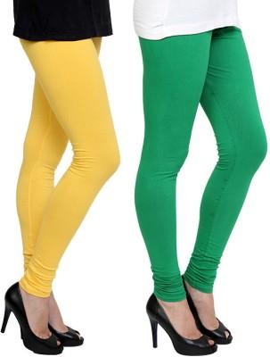 Pannkh Women's Green, Yellow Leggings
