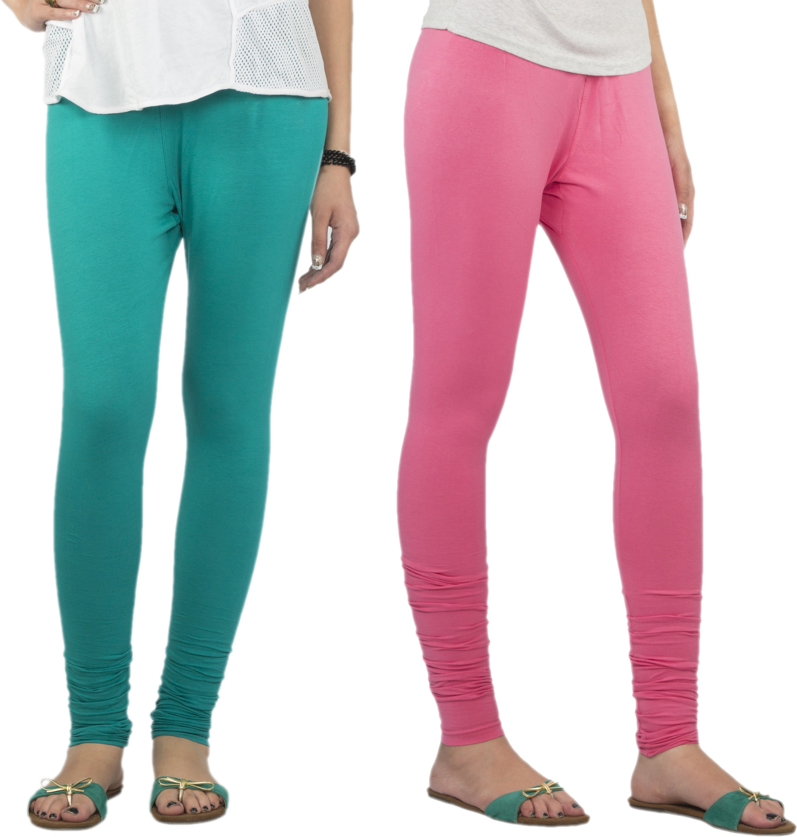 Jublee Womens Green, Pink Leggings(Pack of 2)