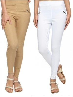 StyloFashionGarments Women's Beige, White Jeggings