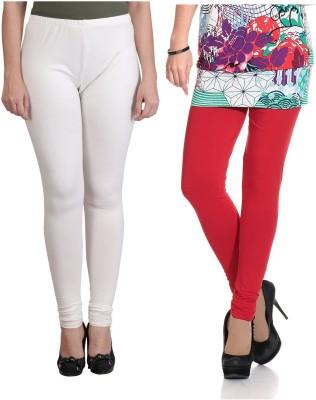 Ahhaaaa Women's White, Red Leggings