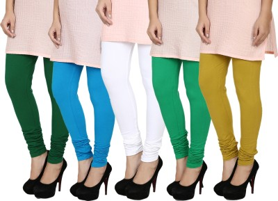 Fizzaro Women's Dark Green, Green, White, Blue, Green Leggings