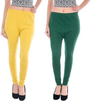 COLORS MORE Women's Dark Green, Yellow Leggings