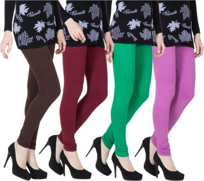 VERMELLO Women's Brown, Maroon, Green, Purple Leggings