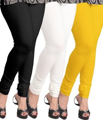 Shikha Women's Black, White, Yellow Leggings