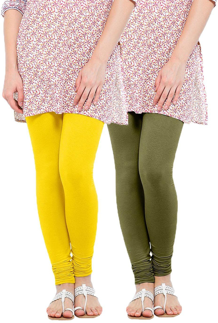 Linking Threads Womens Yellow, Light Green Leggings(Pack of 2)