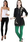 MDR Women's Black, Green Leggings (Pack ...