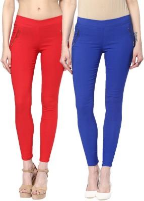 Zea-Al Women's Red, Blue Jeggings