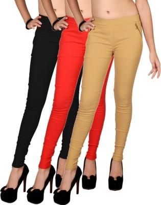 Zea-Al Women's Black, Red, Beige Jeggings