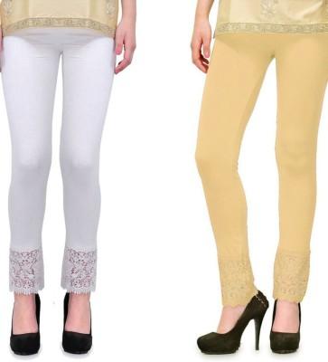 Fashion Arcade Women's White, Beige Leggings