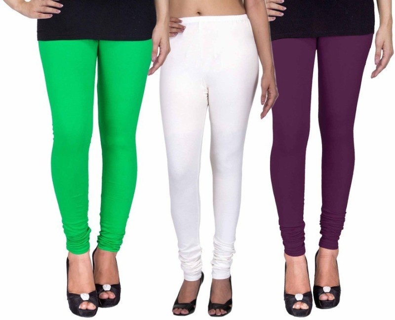 C&S Shopping Gallery Women's Green, White, Purple Leggings(Pack of 3)