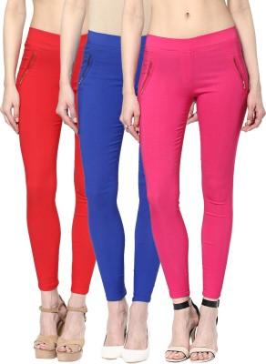 Zea-Al Women's Red, Blue, Pink Jeggings
