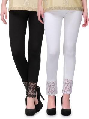 Fashion Arcade Women's Black, White Leggings