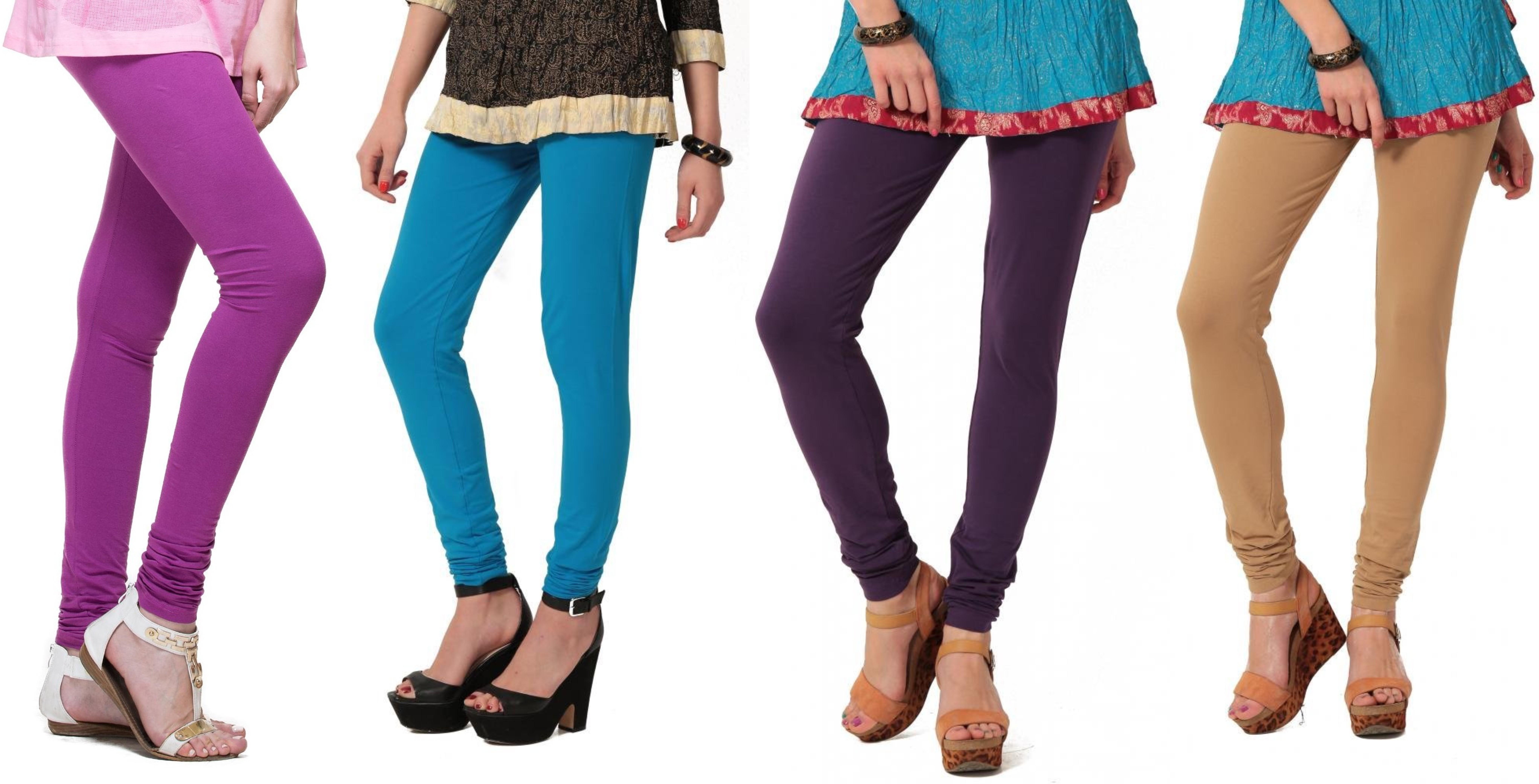 Angel Soft Womens Purple, Light Blue, Purple, Beige Leggings(Pack of 4)