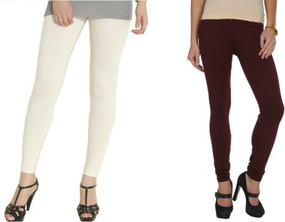 Kamaira Women's White, Maroon Leggings