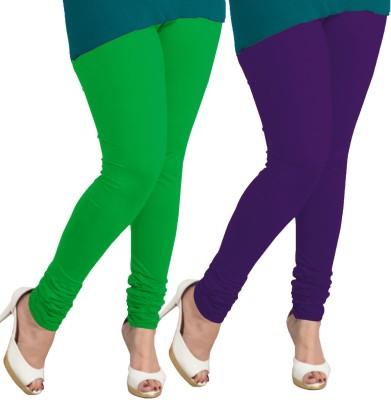 I-Diva Women's Green, Purple Leggings
