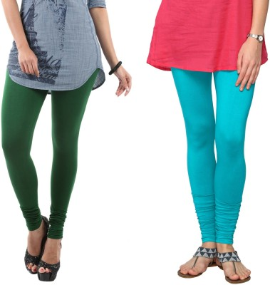 Fashionjackpot Women's Green, Light Blue Leggings