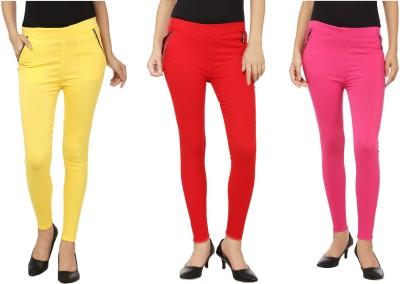 Lambency Women's Yellow, Red, Pink Jeggings