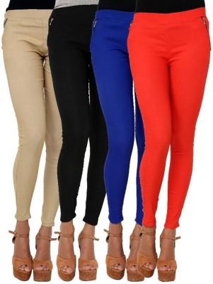 BuyNewTrend Women's Beige, Black, Pink, Blue Jeggings