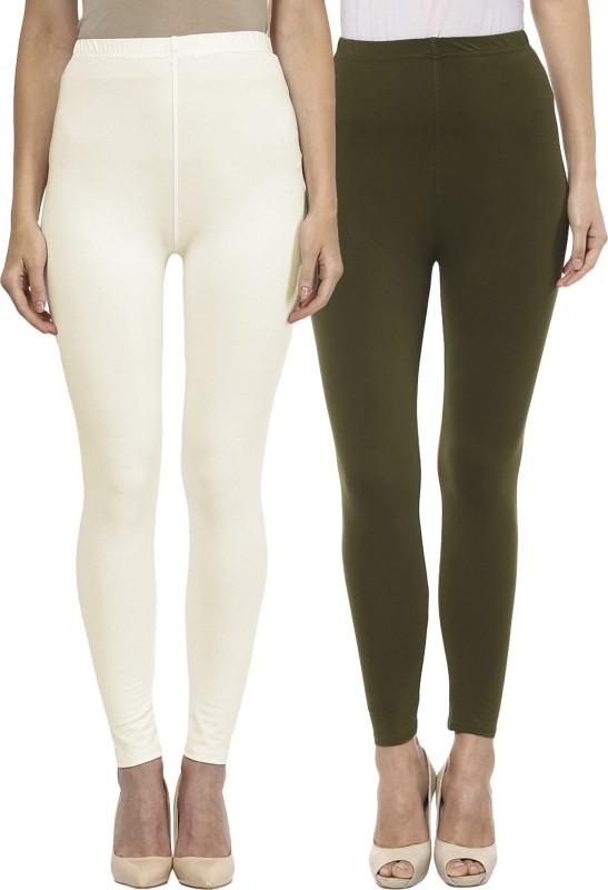 Sakhi Sang Women's White, Green Leggings(Pack of 2)