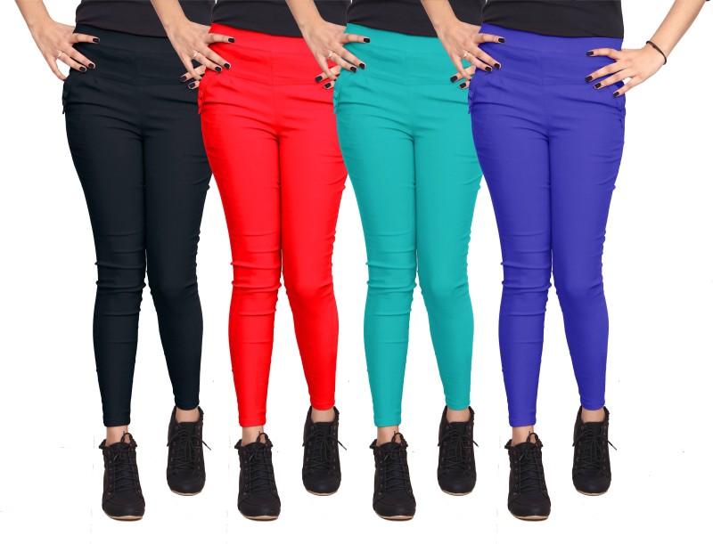 Xarans Women's Black, Red, Green, Blue Jeggings(Pack of 4)