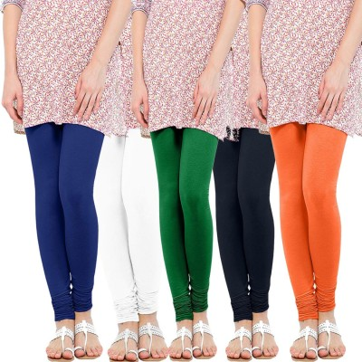 WellFitLook Women's Blue, White, Green, Blue, Orange Leggings